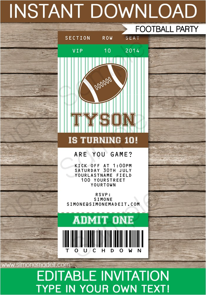 printable football ticket invitation