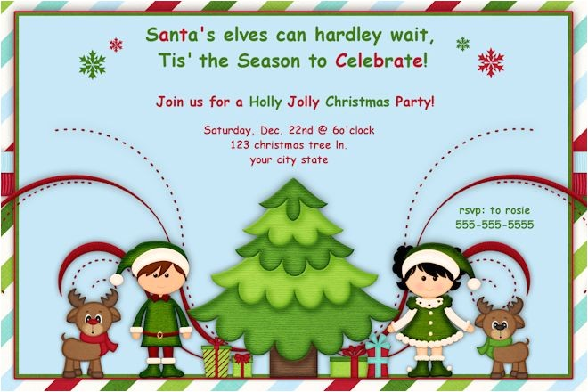 elf christmas party invitations or birthday invitations printable