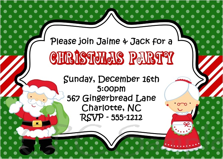 santa and mrs claus kids christmas holiday party invitation by cutie patootie creations p 2077