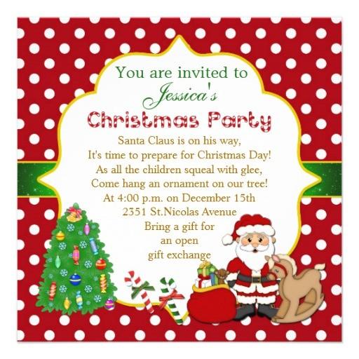 santa tree rocking horse kids christmas party invitation 161569433609083616