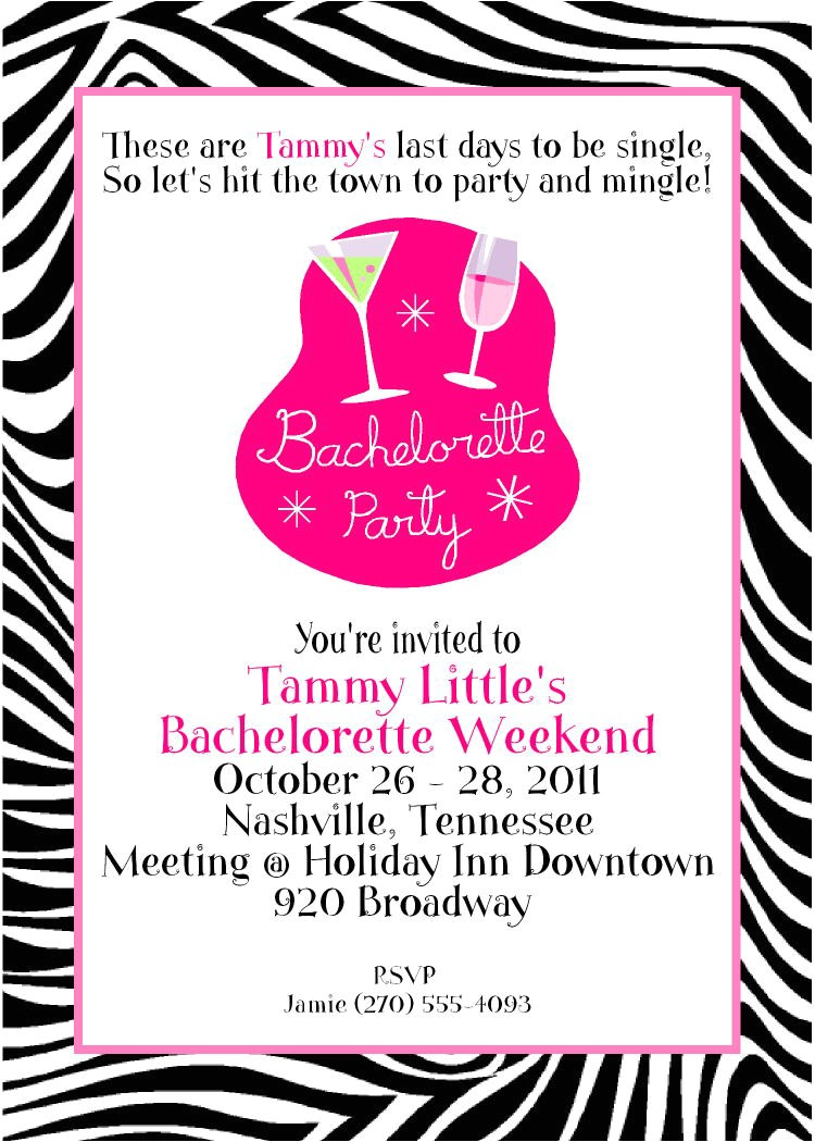 card design bachelorette party invite only for girls