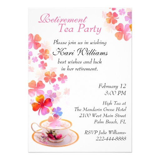 stylish ladies retirement tea party invitation 161951742231968661