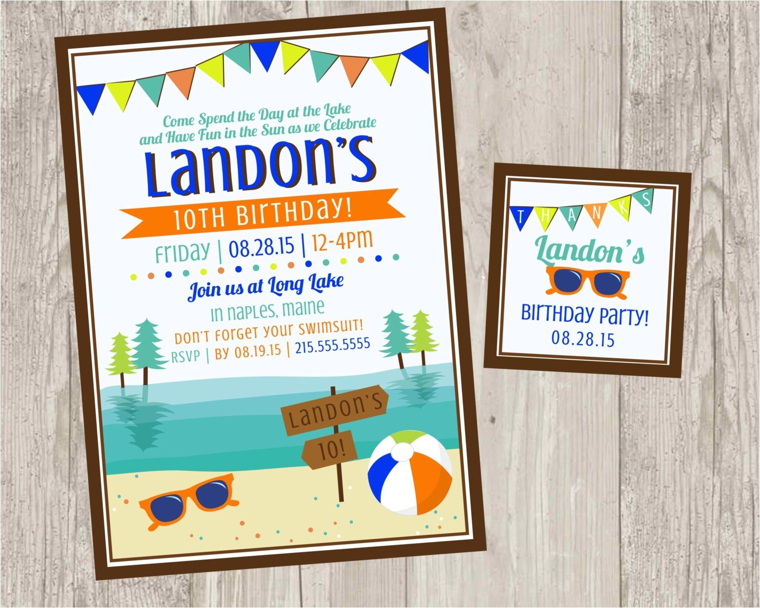lake birthday party invitations summer