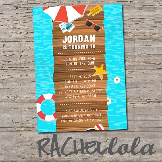 lake or beach birthday invitation