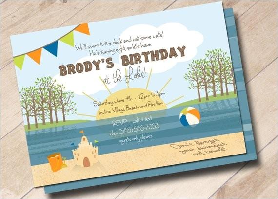 lake beach birthday party invitation