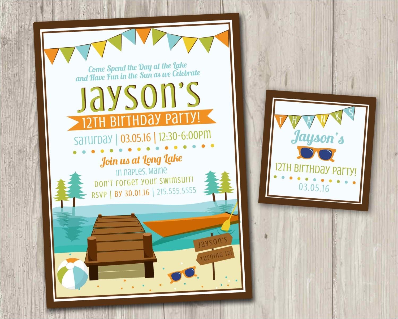 lake birthday party invitations kayak