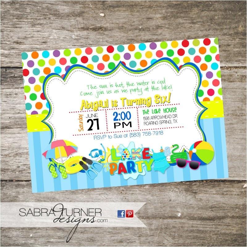 lake party birthday invitation swim
