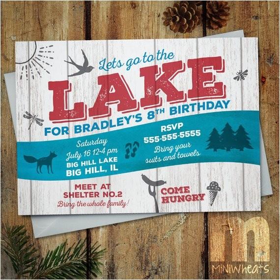 lake party kids birthday invitation ref market