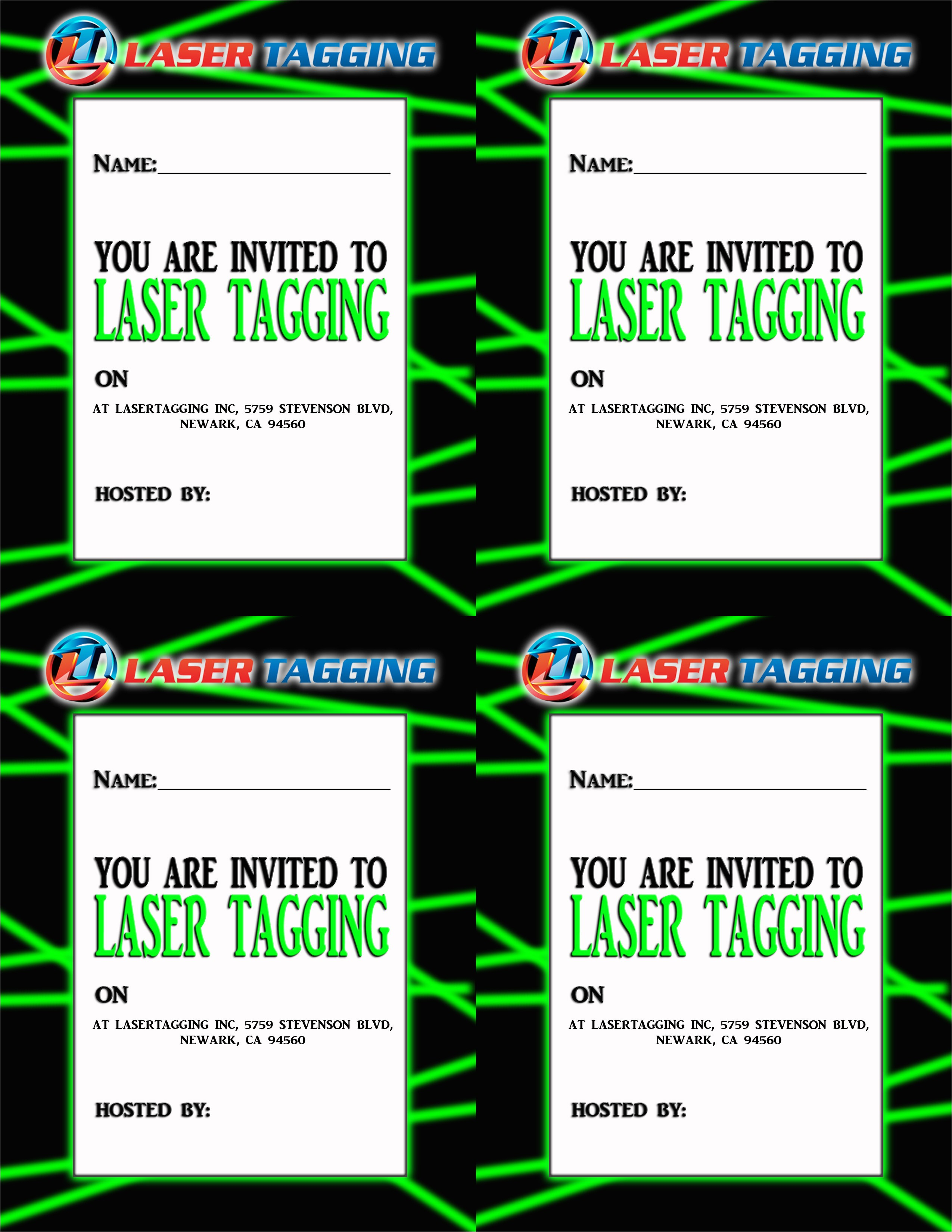 free laser tag birthday invitation