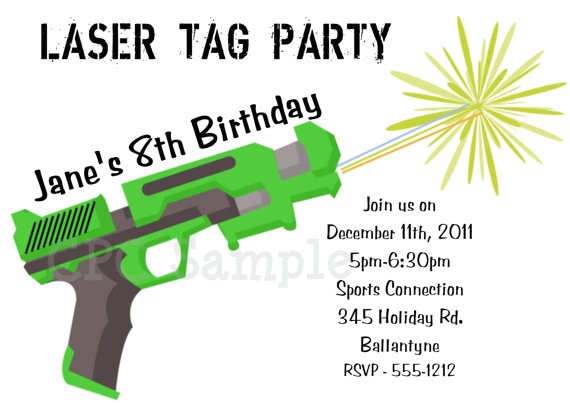 free printable laser tag birthday party invitations