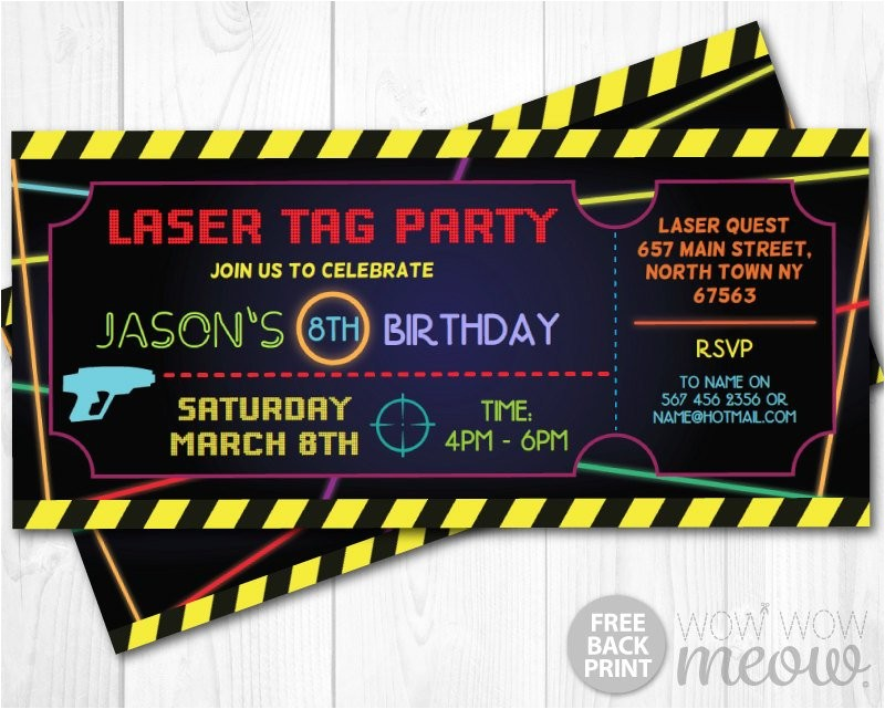 laser tag invitations ticket birthday