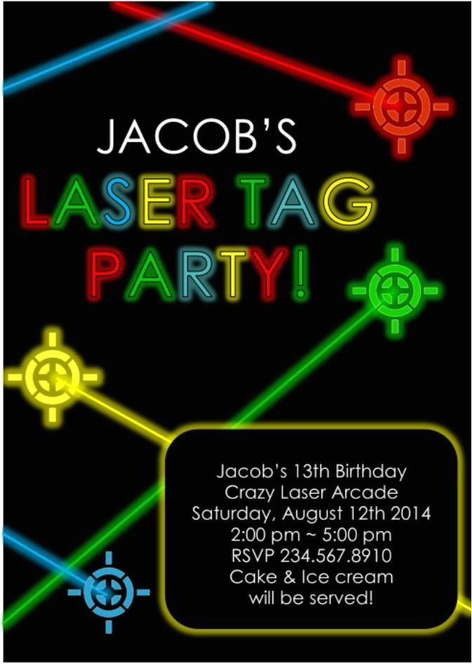 laser tag party invitation editable