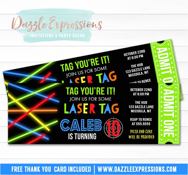 laser tag ticket invitation free thank you card included