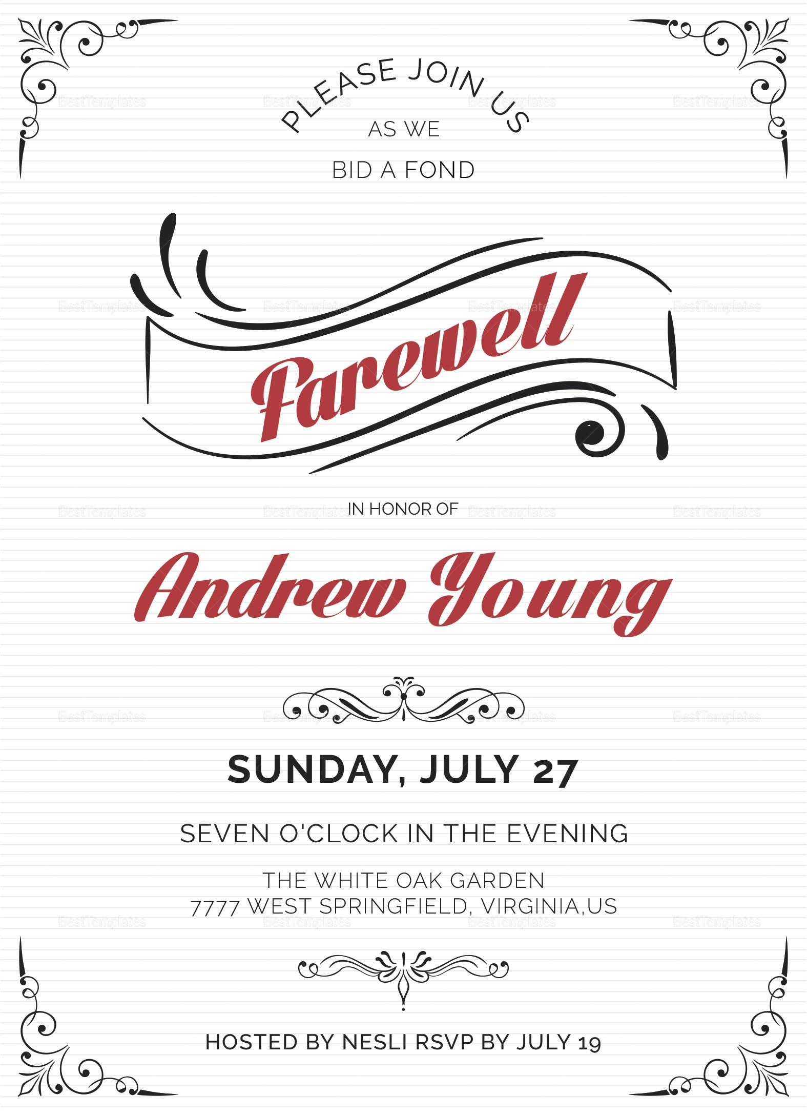 elegant farewell party invitation