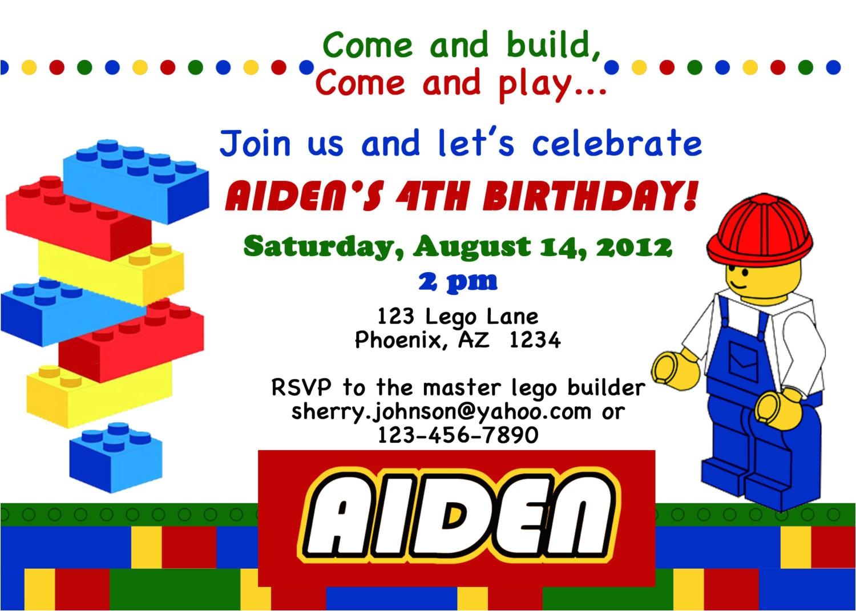 lego themed birthday party invitations