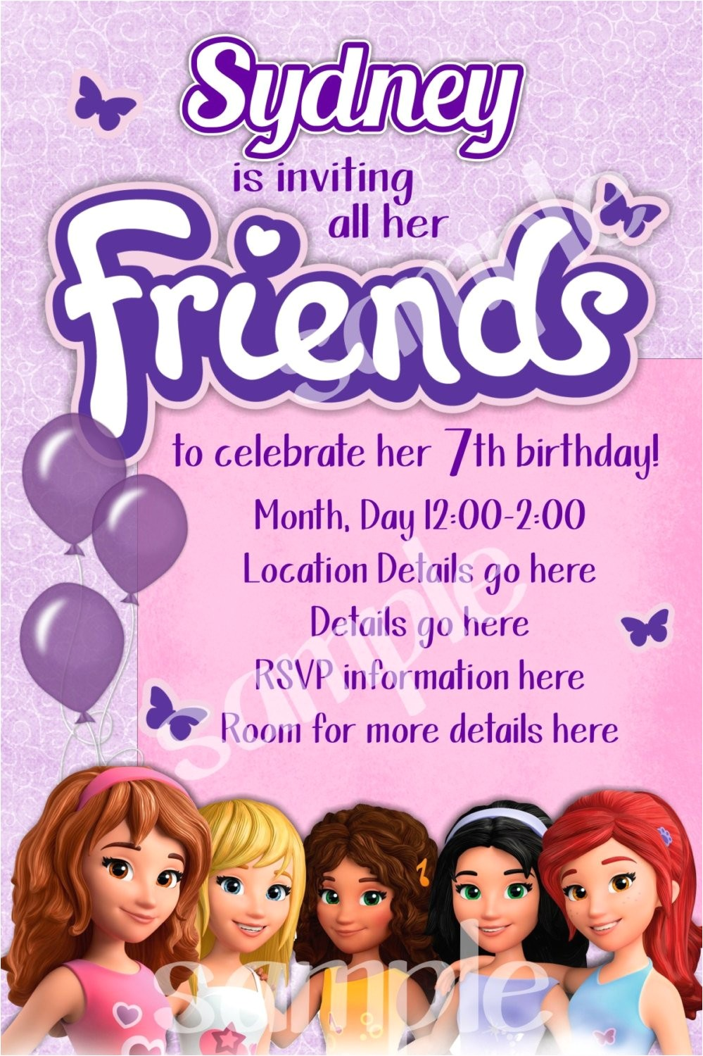 lego friends birthday invitation