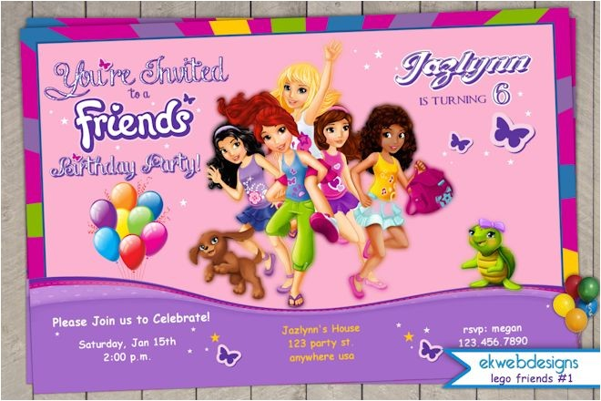 lego friends birthday invitation printable file