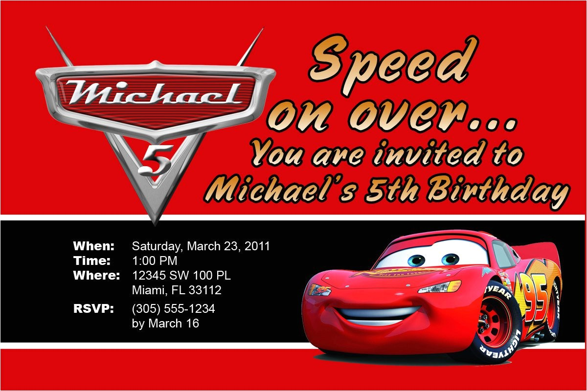 lightning mcqueen personalized invitations