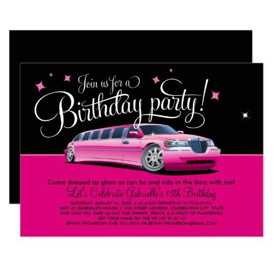 birthday party invitation pink limousine 256318014498883865