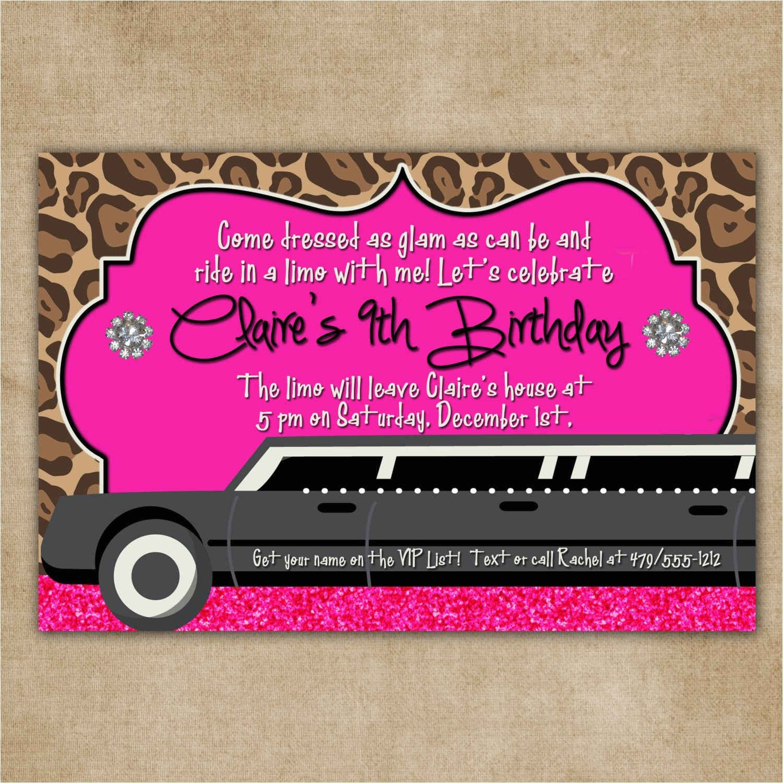 limo glam birthday digital invitation