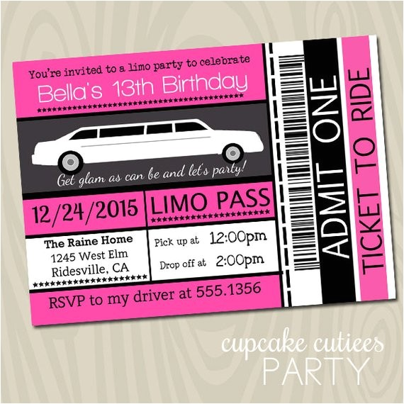 limo ticket full 5x7 or 4x6 invite