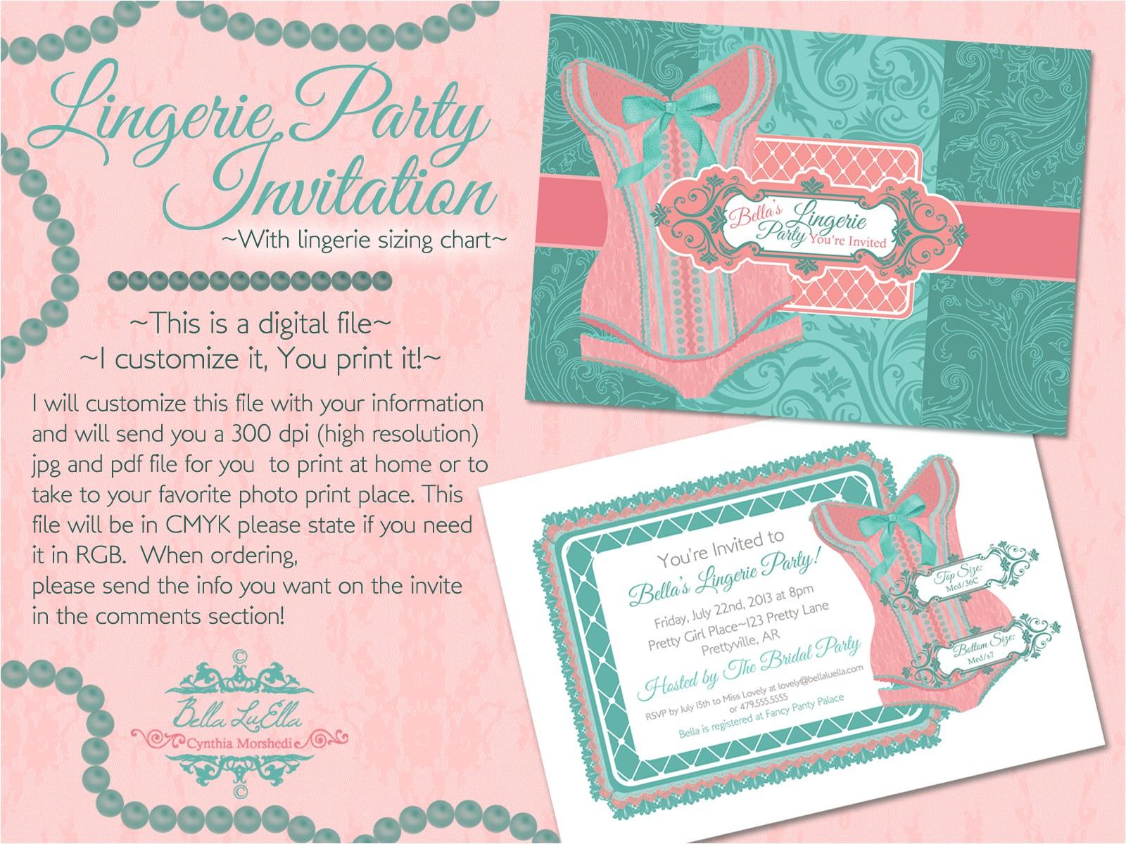 lingerie shower invitation template bella luella more bachelorette party invites