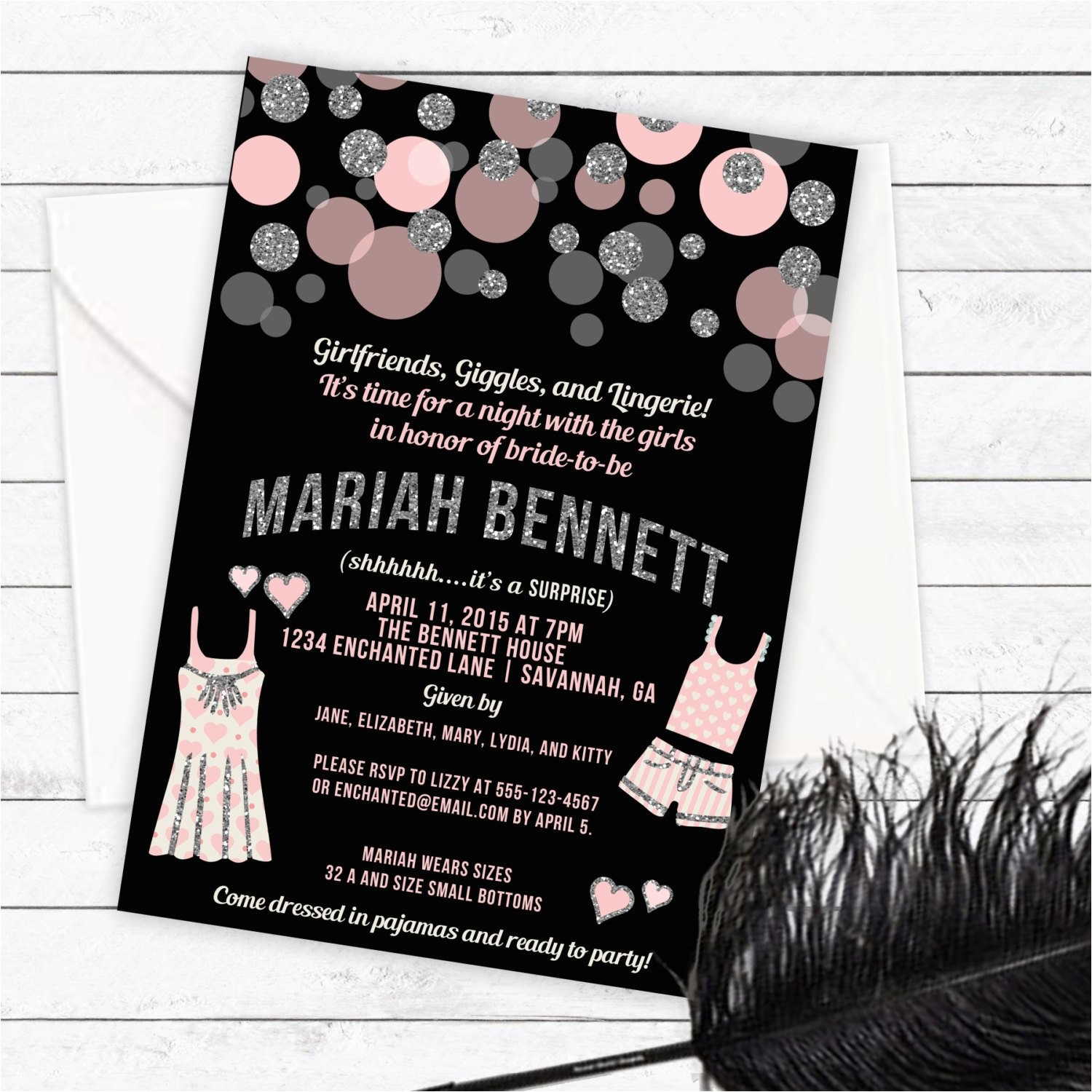 pajama party lingerie party invitation