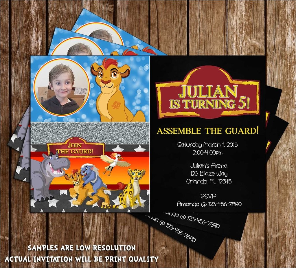 disneys the lion guard lion king birthday party invitation