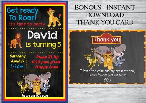 the lion guard birthday invitation free