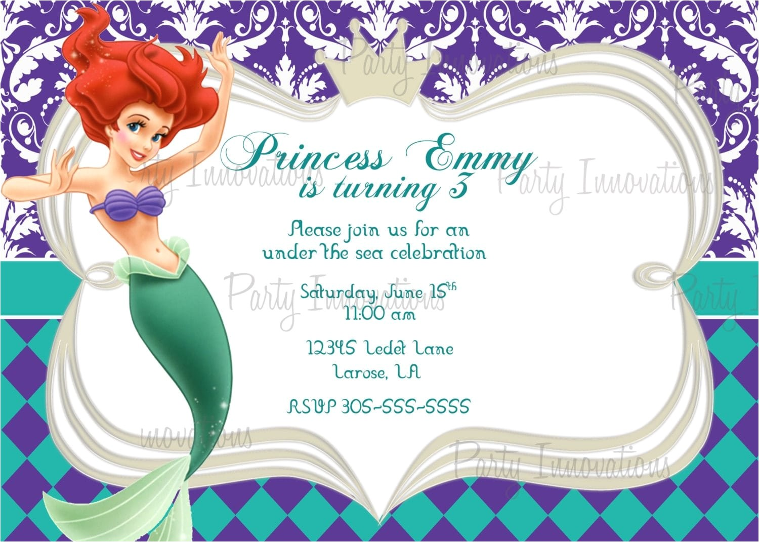 mermaid birthday invitation templates