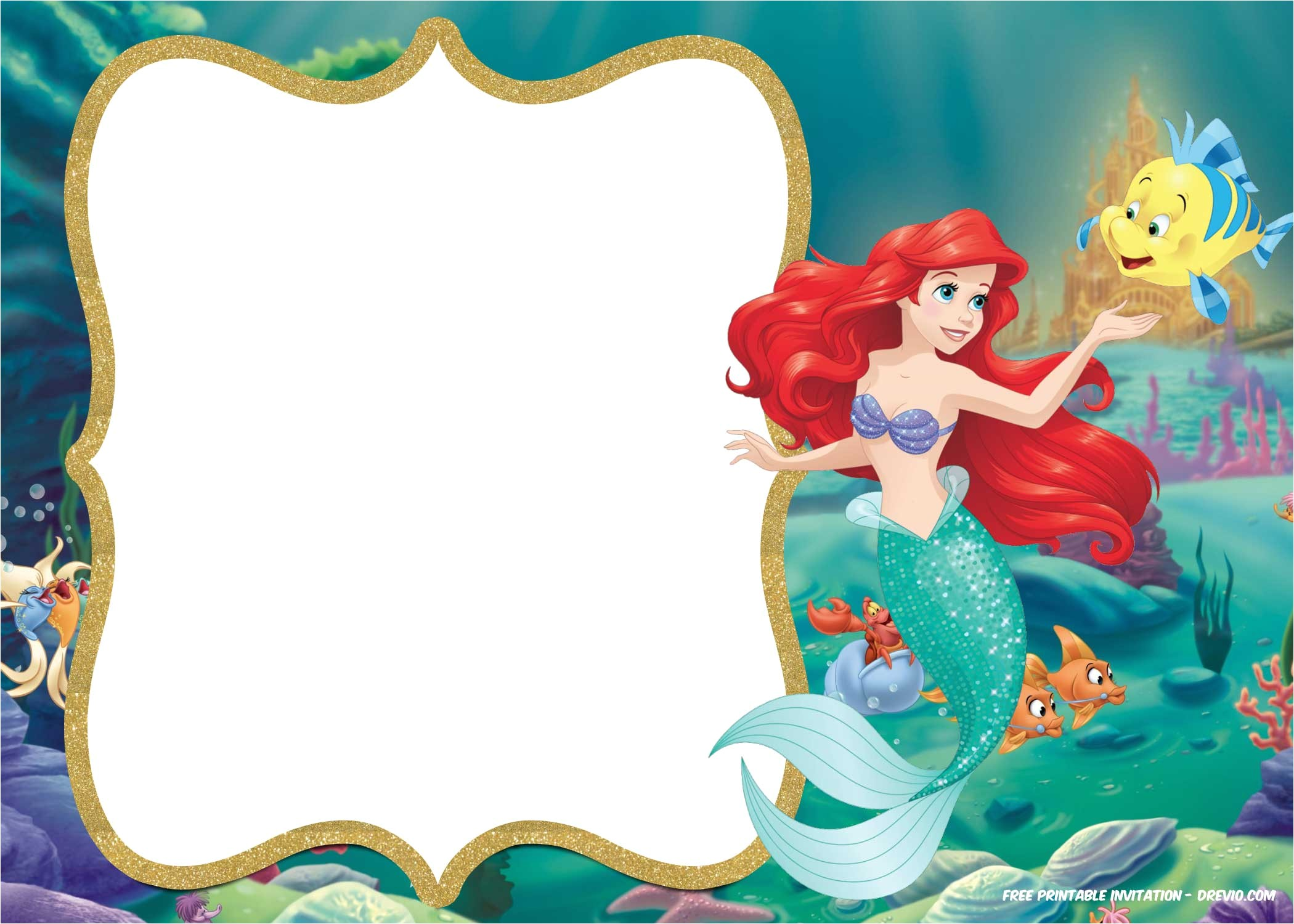 free printable ariel little mermaid invitation template