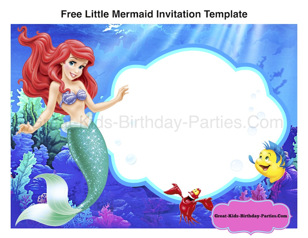 Little Mermaid Party Invitations Templates Little Mermaid Font