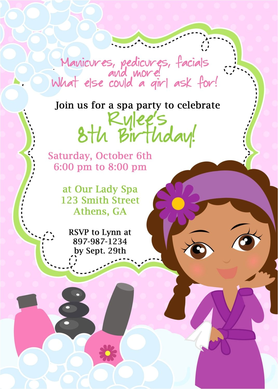 diy sassy spa party invitation african
