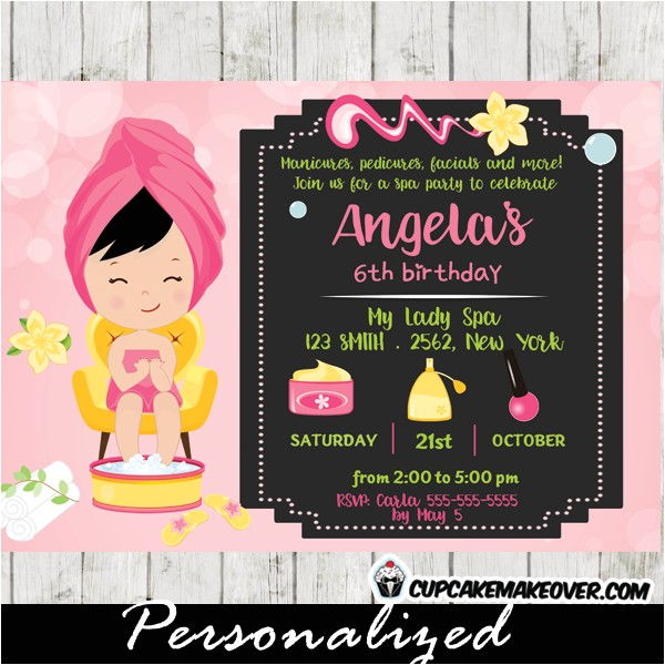 little girl spa party invitations pink bokeh personalized