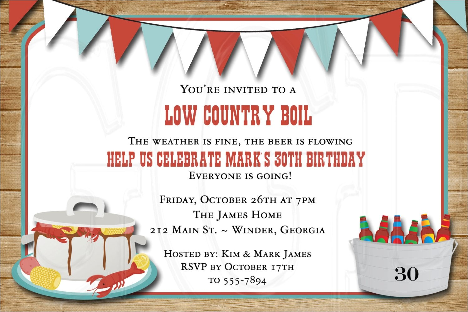 low country boil birthday or wedding