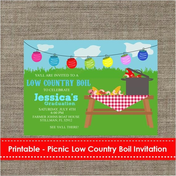 picnic low country boil party invitation