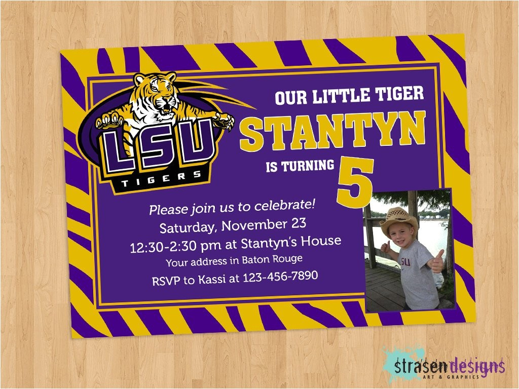 lsu purple gold birthday invitation