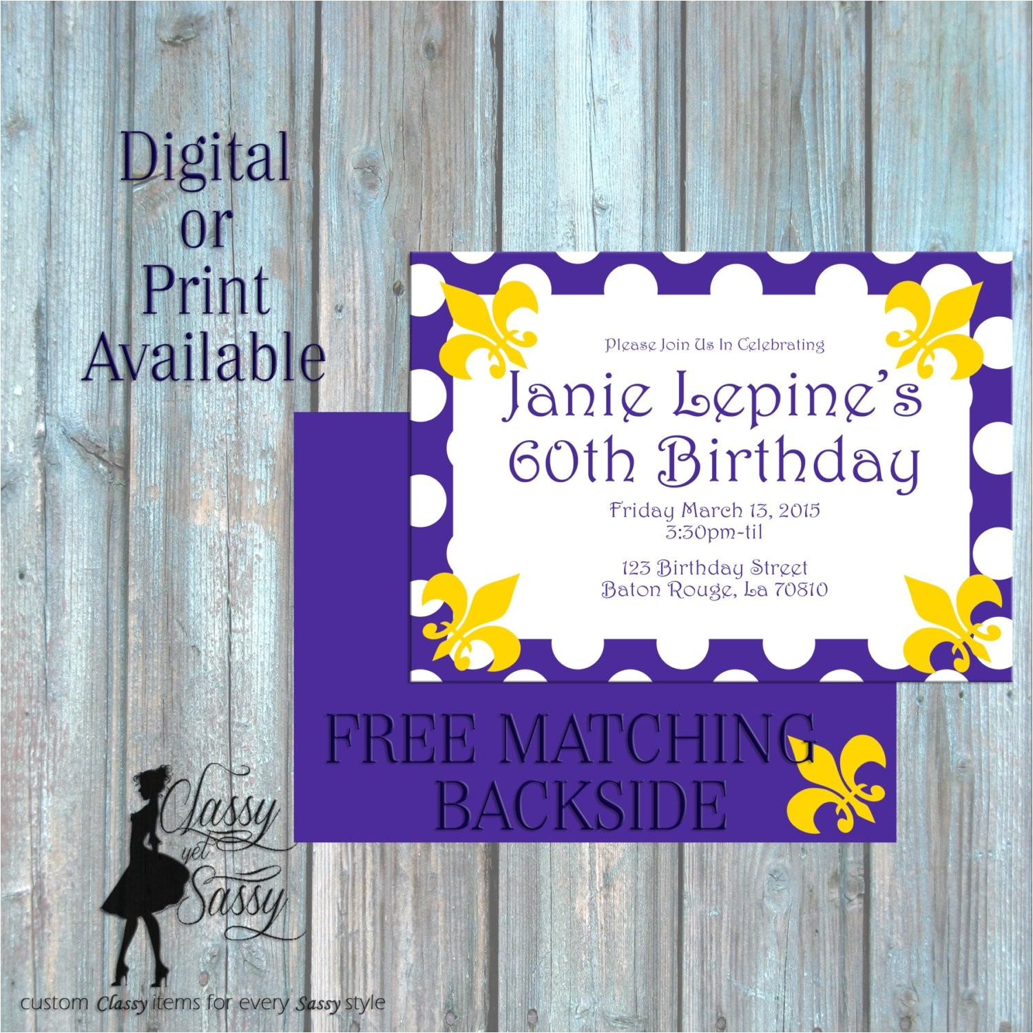 purple and gold lsu invitation birthday