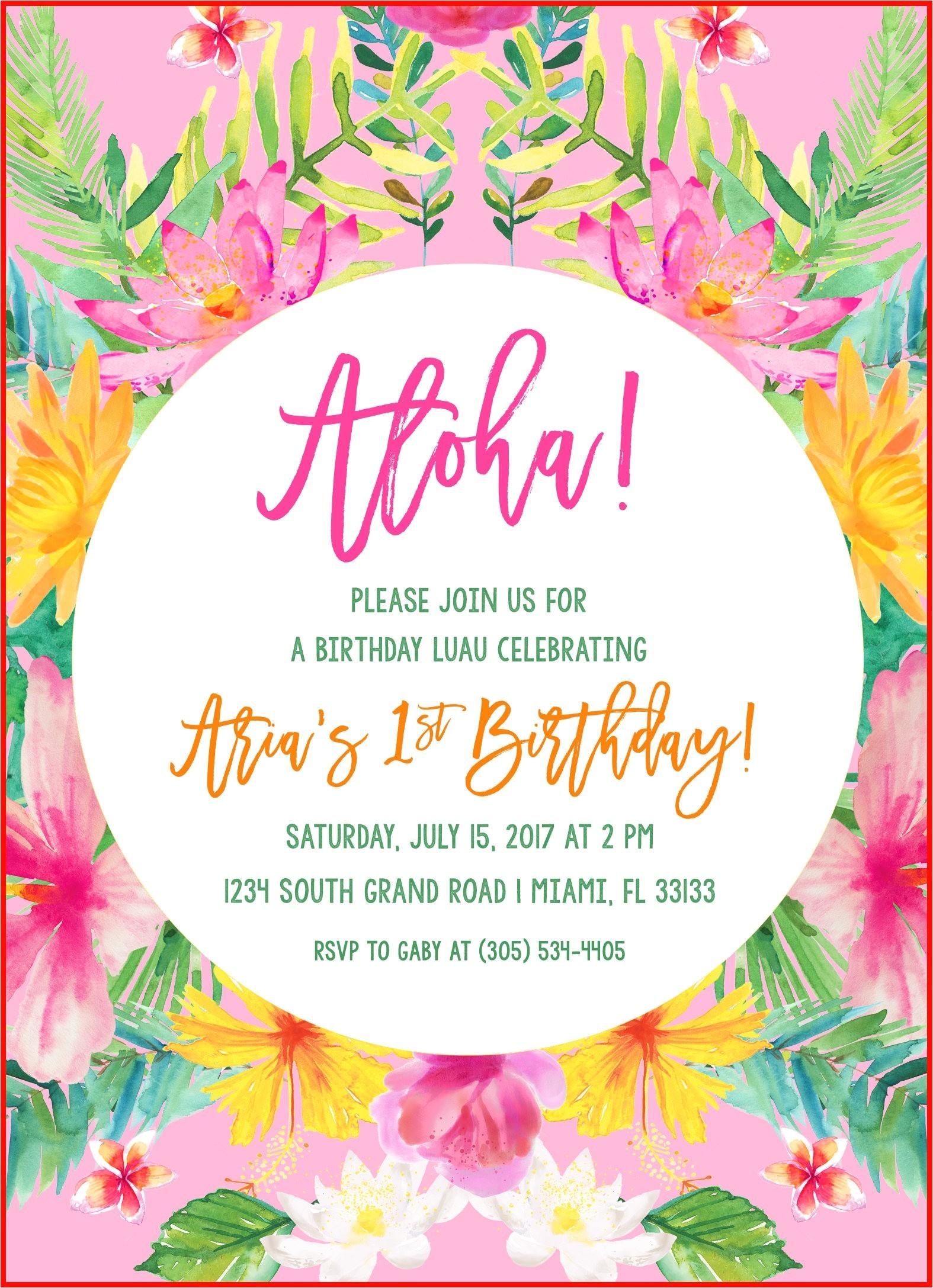 luau invites 32401 tropical birthday invitation luau birthday invitation first 1st