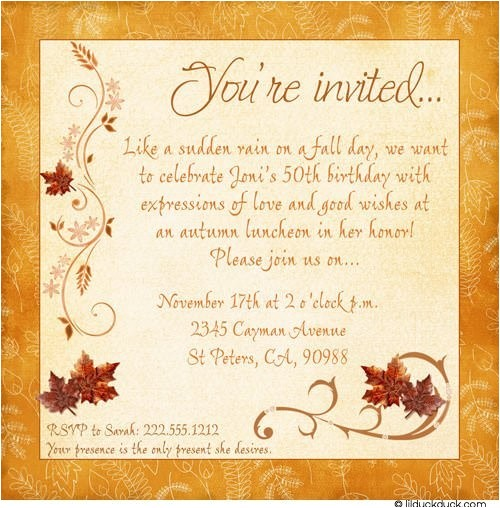 chic fall birthday invitations