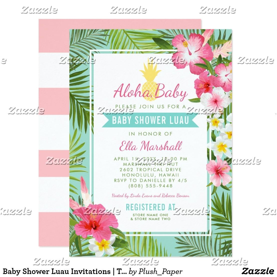 baby shower luau invitations tropical flowers pinterest lush party invitations