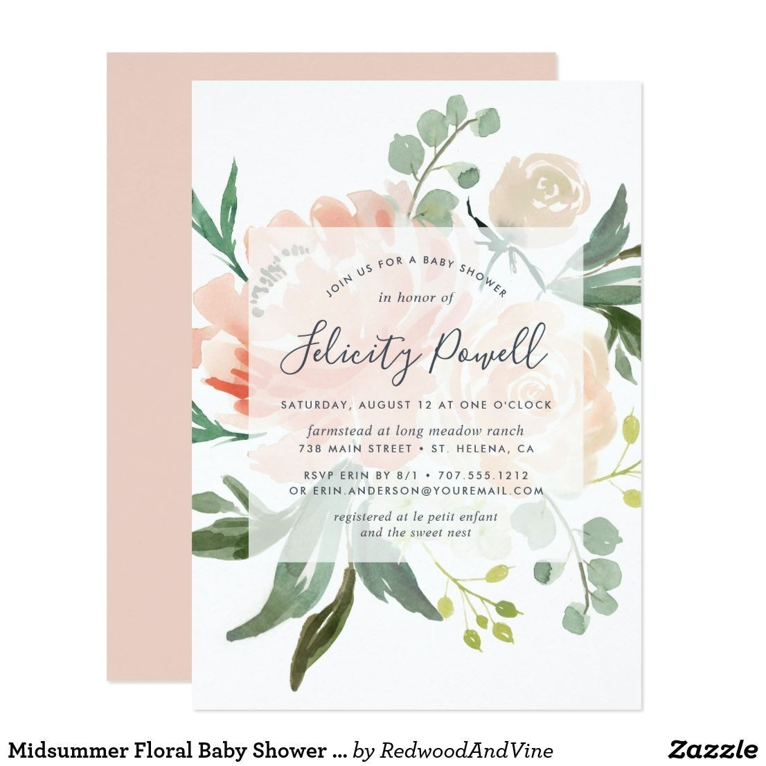 lush party invitations midsummer floral baby shower invitation pinterest