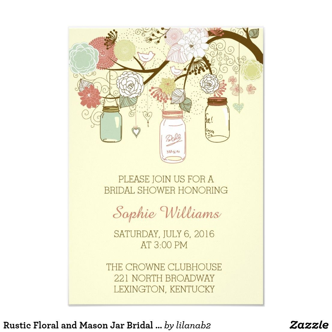 lush party invitations rustic floral and mason jar bridal shower card