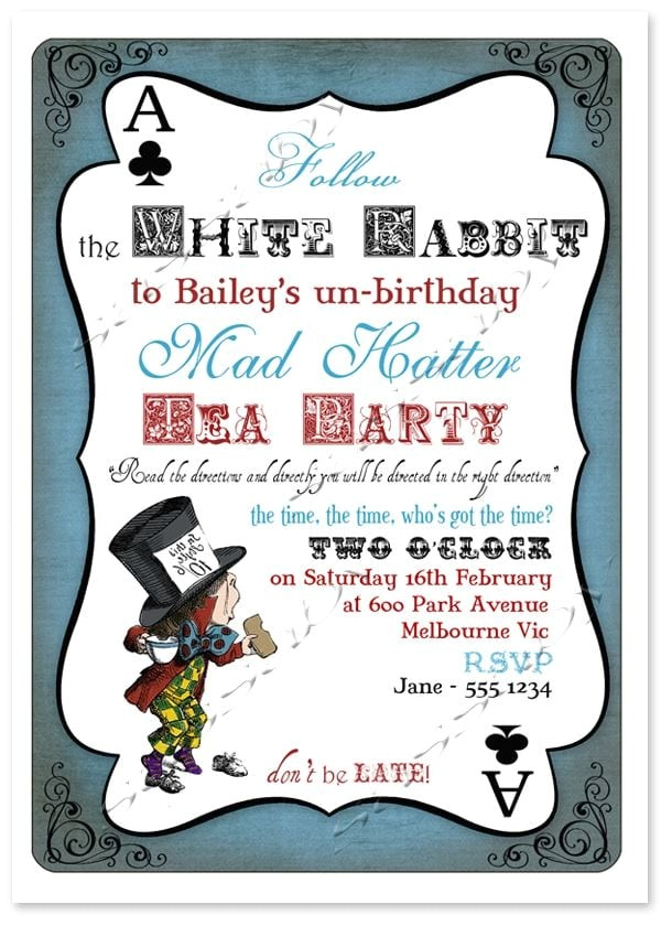 mad hatters tea party printable invitation