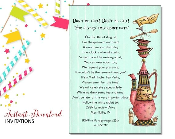 mad hatter invitation birthday tea party