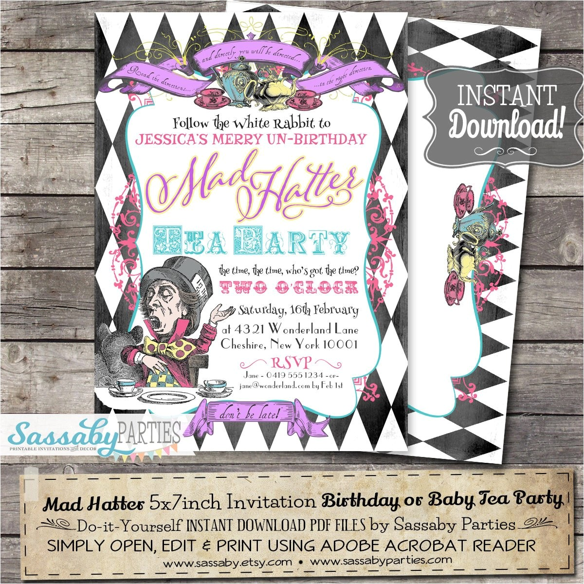 mad hatter tea party invitation instant