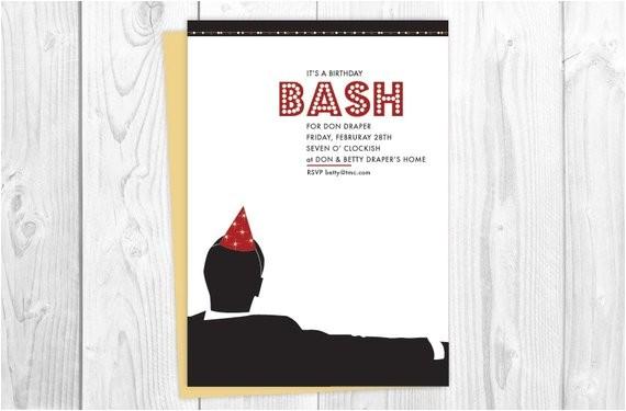 mad men party invitations birthday bash