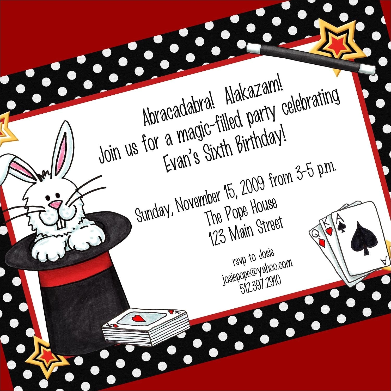 magic party invitation printable