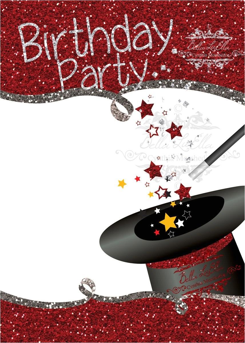 magic birthday party invitation blank