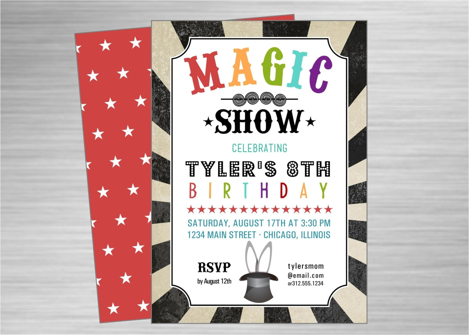 magic show printable party invitation